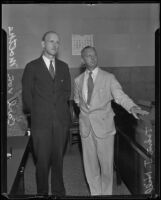Carl von Moltke and John J. Hill at a courthouse during Molke's trial for check forgery, Los Angeles, 1935