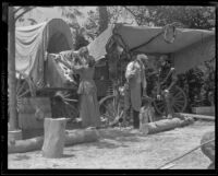 """""""Call of the Battalion,"""" Covered Wagon scene, at the Pioneer Day Festival in Centinela Park, Inglewood, 1935"""