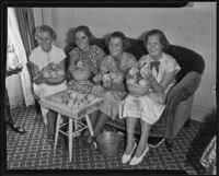 International Women's Club members with bowls of peaches, 1935