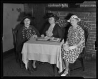 Mary Noerenberg, Grace S. Stoermer and Eleanor Ferris of the Los Angeles Chamber of Commerce Women's Auxiliary, Los Angeles, 1935