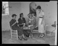 Helen G. Cross, Adelaide Cormack, Anne English, Eva Lee at tea, Los Angeles, 1935