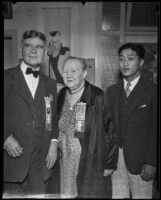 Joseph Mesmer, Mary Franklin and Kay Sugahara at the banquet at the Kawafuku Cafe for the 2nd annual Nisei festival, Los Angeles, 1935