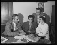 Harold Dean, Hazel Smith, Ernest Roll, and Olin N. Mackay during Ruth Attaway investigation, Los Angeles, 1935