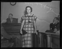 Jewel Inez Joseph, mother of Ruth Attaway who died after an abortion, in court, Los Angeles, 1935