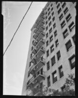 Cooper Arms Apartments, view of fire escapes from street level, Long Beach, 1935