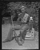 "Robert Bly, runaway, with his dog ""Don,"" Eagle Rock, 1935"