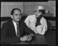 Bosu Kamra Bagchi and wife Tara Bagchi, in court with suit against Swami Yogananda, Los Angeles, 1935