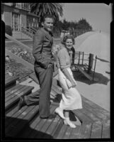 Edward Ford, Jr. and his bride-to-be, Charlotte Hall, Santa Barbara, 1935