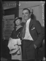 William Desmond and his wife Mary McIvor, who were in court after a drunk driving incident, Los Angeles, 1935