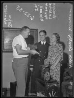 Ensign Leland P. Kimball with wife Helen Werner Kimball and John Werner, Beverly Hills, 1935