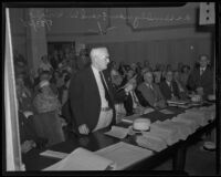 Assemblyman Frank W. Wright speaking at a Los Angeles County budget hearing, Los Angeles, 1935