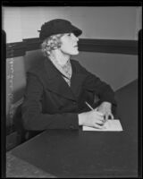 Helen Lee Worthing, former Ziegfeld Follies performer, in court suing for back alimony, Los Angeles, 1935