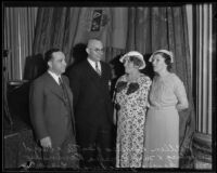 Delegates Pincus Allen Rickles, David Blumberg, Amelia Ravinsky, and Bessie Schwab gather at the Biltmore, Los Angeles, 1935
