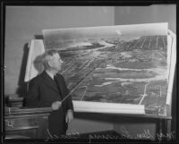 Major General Lansing H. Beach at the witness stand discussing the construction of an industrial harbor, Los Angeles, 1935