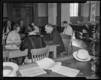 H. B. Dierke talks about undercover work for Board of Liquor Control at hearing, Los Angeles, 1935