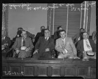 Sen. Sanborn Young, Sen. Henry McGuinness, Sen. Ben Hulse, and Sgt. Joe Nolan at liquor control hearing, Los Angeles, 1935