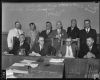 California State Senators Ed Tickle, Sanborn Young, Chris Jesperssen, Ben Hulse, Jerrold Seawell, Will R. Sharkey, Henry McGuinness, Ralph Swing, Dep. Dist. Atty. H Leslie Wildey, and Joe Noaln, Los Angeles, 1935