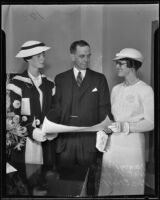 Nat Rogan accepts his new position accompanied by his wife Ethel and their daughter Nancy, Los Angeles, 1935