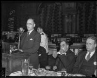 President of United States Junior Chamber of Commerce E. R. West delivers speech, Los Angeles, 1935