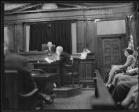 Virginia Carter gives testimony against her mother to Judge Borwon, Los Angeles, 1935