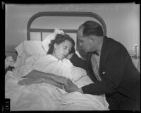 Archie Carter reunites with his wife Gladys Carter at the General Hospital, Los Angeles, 1935
