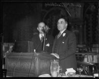 Nelson Saunders and Dr. A. H. Giannini at Junior Chamber of Commerce luncheon, Los Angeles, 1935