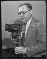Louis J. Combe with Kodak camera panorama invention, Los Angeles, 1935