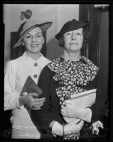 Mary Adele Donovan accompanies her mother Mary Grace Donovan to her divorce proceedings, Los Angeles, 1935