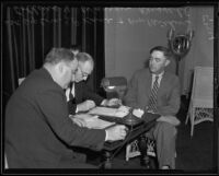 Warren H. Russell questioned by Deputy Coroner J. P. Kane and Arthur Collins about Marion Brown's death, Los Angeles, 1935