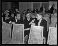 Ray Brown, De De Brown, and David W. Brown at funeral parlor, Venice, 1935