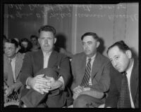 Officer B. J. Niles, Warren H. Russell, and Atty. David Schwartz at Marion Brown inquest, Venice, 1935