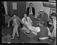 Detective Lieutenant F. L. McGlinchey, Lou Daro, Ed M. Crum, Det. Lt. L. E. Sanderson, and Captain E. A. Frendenberg, Los Angeles, 1935