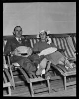 Fire Chief R. H. Scott and Adeline Scott aboard the Monterey before departing for Australia, San Pedro, 1935
