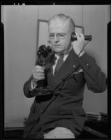 Frank J. Hogan talks on the telephone, Los Angeles, circa 1935