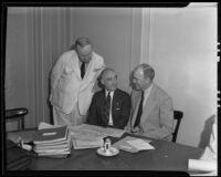 John H. Voorhees, Richard Bentley, and William P. Mac Cracken at the American Bar Association conference, Los Angeles, 1935