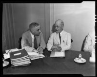 L. Barrett Jones and Major Edgar B. Tolman at the American Bar Association conference, Los Angeles, 1935