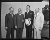 George W. Nilsson, D. M. Kelley, Patrick J. Hurley, and Peter Q. Nyce at the American Bar Association convention, Los Angeles, 1935
