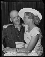 Mildred Von Moltke reunites with husband Carl Von Moltke at the county jail, Los Angeles, 1935