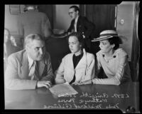 Kathryn Parks, accidental killer, sitting with Griffith Jones and Mildred Gilmore, Los Angeles, 1935