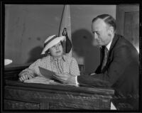 Leah Clampitt Sewell in court with her attorney Henry G. Bodkin, Los Angeles, 1935