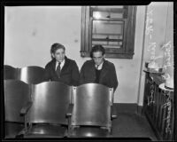 Jewelry thieves Virgil R. Scott and Ernest I. Richardson awaiting trial for burglary, Los Angeles, 1935