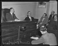 Carroll Johnson takes the witness stand in police shooting case, Los Angeles, 1935