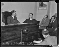 Theodore R. Welch, officer who shot William Focher, takes the stand, Los Angeles, 1935