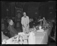 James M. Beck addresses guests at Rotary Club luncheon in the Biltmore Hotel, Los Angeles, 1935
