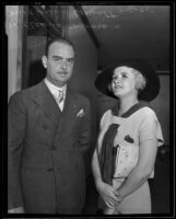 Cleeve Palmer Morrison in court with his divorce witness, Alice Hewitt, Los Angeles, 1935
