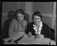 Martha U. Tidd and Emily Wooley, social workers employed by the Works Progress Administration, Los Angeles, 1935