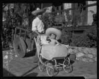 Daniel Elizondo takes his son Raymundo for a walk, Los Angeles, 1935