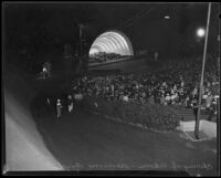 Onlookers enjoy Symphonies Under the Stars at the Hollywood Bowl, Los Angeles, 1935