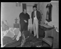 Ben Reynolds and Alvin Knepper at Reynolds' home where actress Julianne Graham committed suicide, Hollywood, 1935