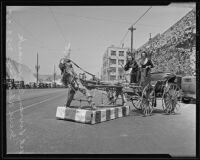 Vivian Cammack and Irene Alcalay with a wooden horse, Los Angeles, 1935